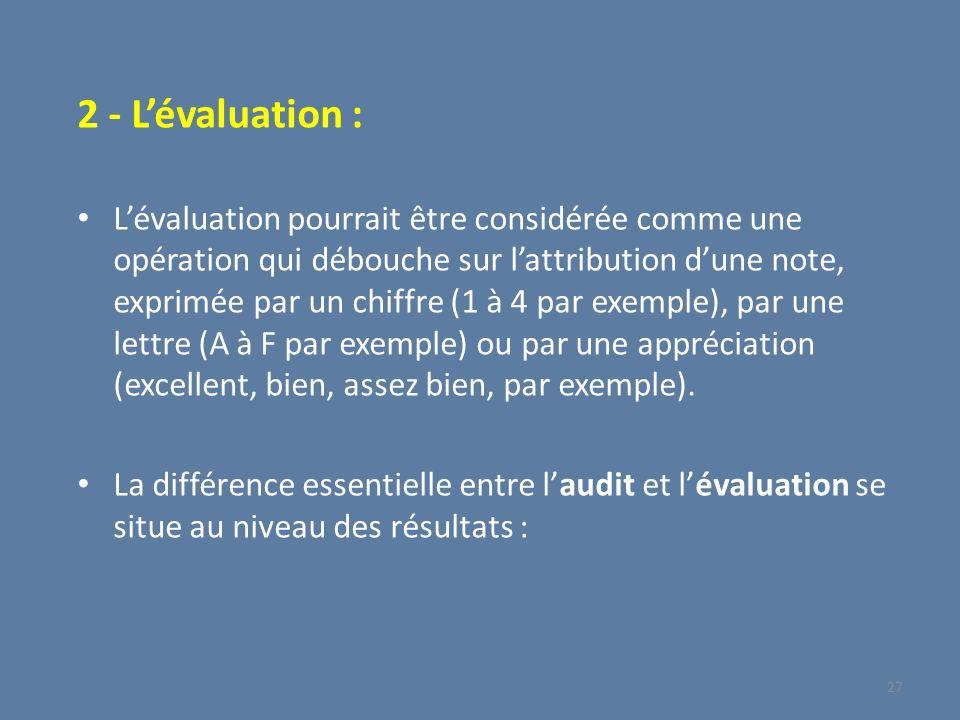 2 - L'évaluation :