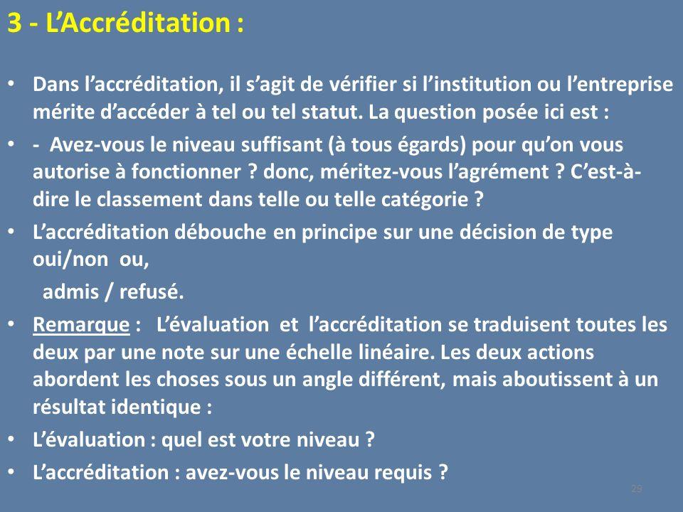 3 - L'Accréditation :