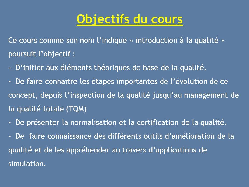 Objectifs du cours Ce cours comme son nom l'indique « introduction à la qualité » poursuit l'objectif :
