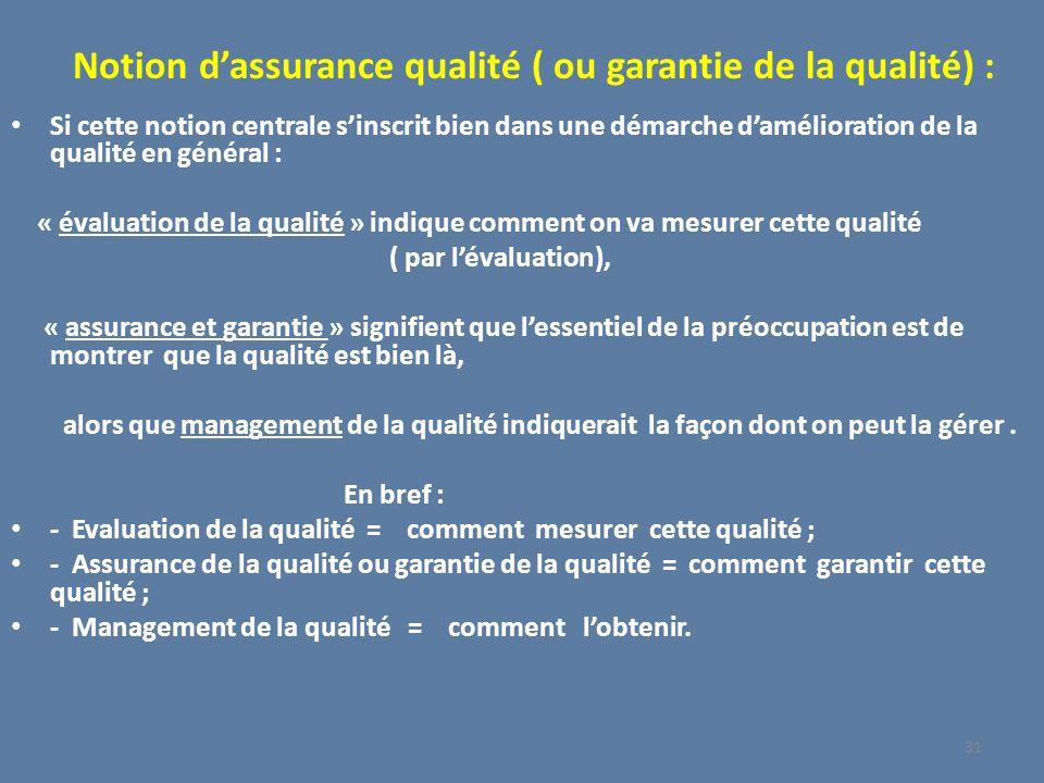 Notion d'assurance qualité ( ou garantie de la qualité) :