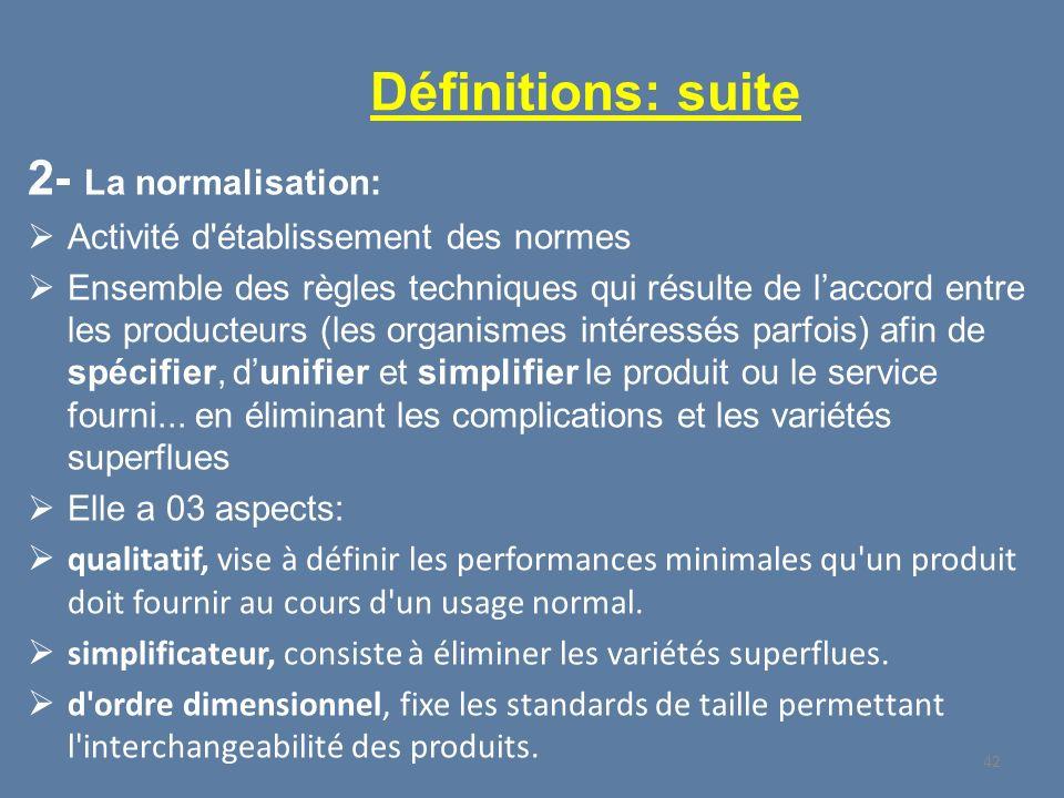 Définitions: suite 2- La normalisation: