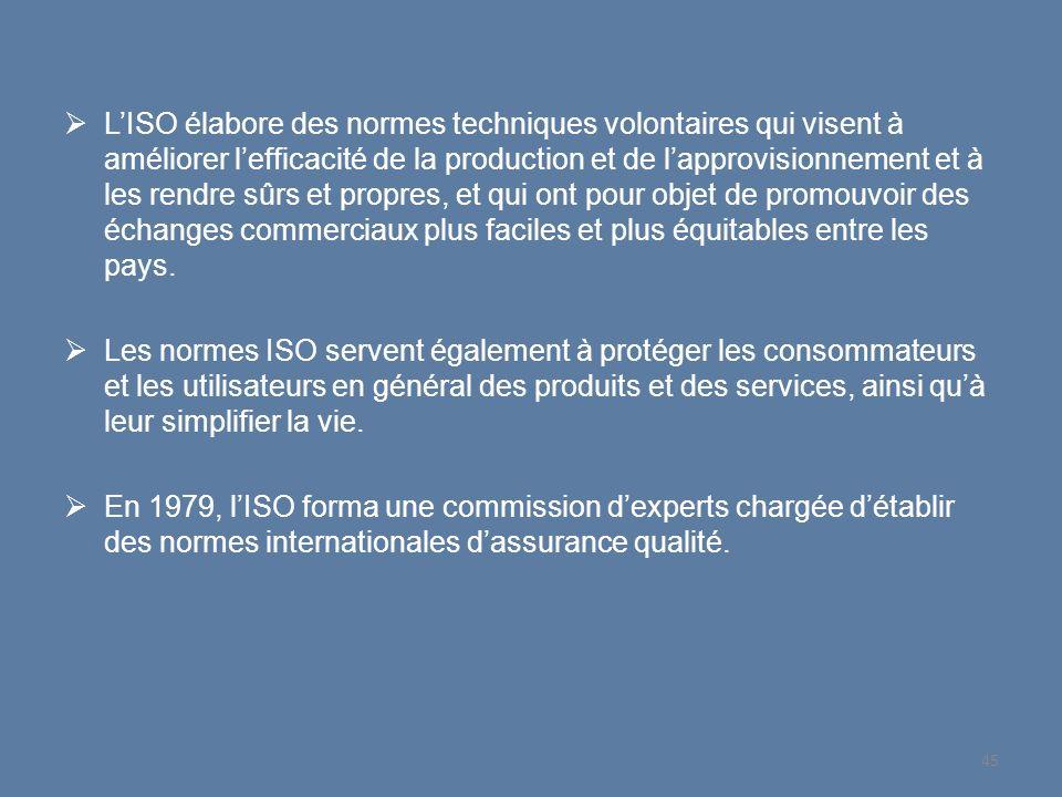 L'ISO élabore des normes techniques volontaires qui visent à améliorer l'efficacité de la production et de l'approvisionnement et à les rendre sûrs et propres, et qui ont pour objet de promouvoir des échanges commerciaux plus faciles et plus équitables entre les pays.