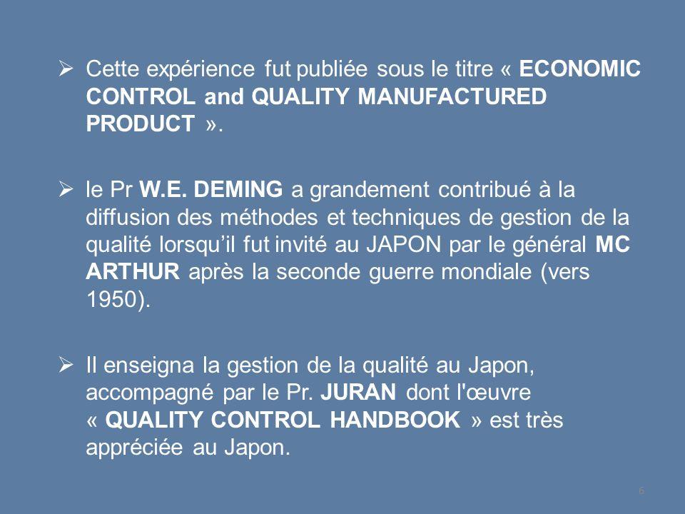Cette expérience fut publiée sous le titre « ECONOMIC CONTROL and QUALITY MANUFACTURED PRODUCT ».