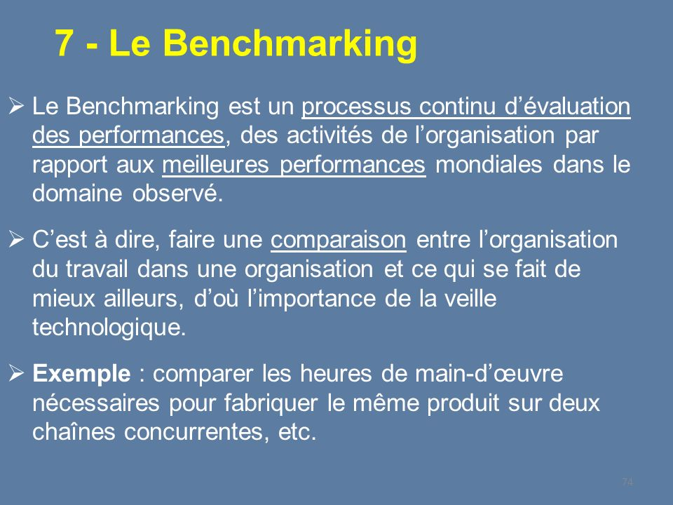 7 - Le Benchmarking