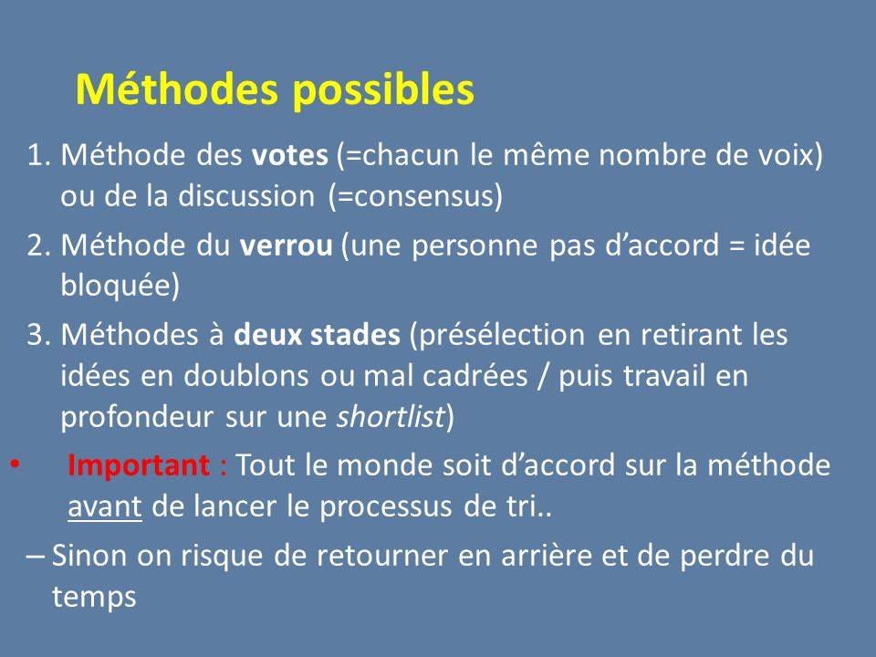 Méthodes possibles Méthode des votes (=chacun le même nombre de voix) ou de la discussion (=consensus)
