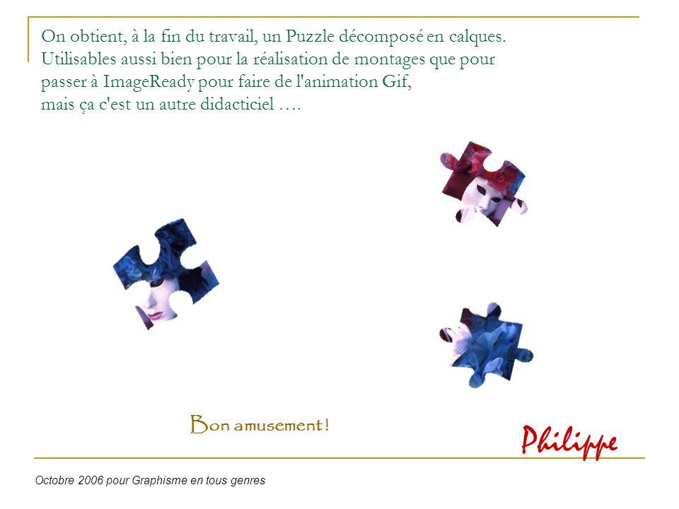 On obtient, à la fin du travail, un Puzzle décomposé en calques