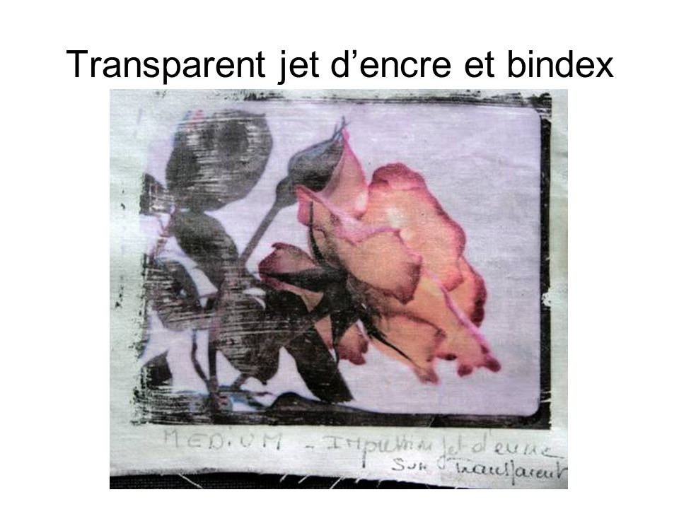 Transparent jet d'encre et bindex
