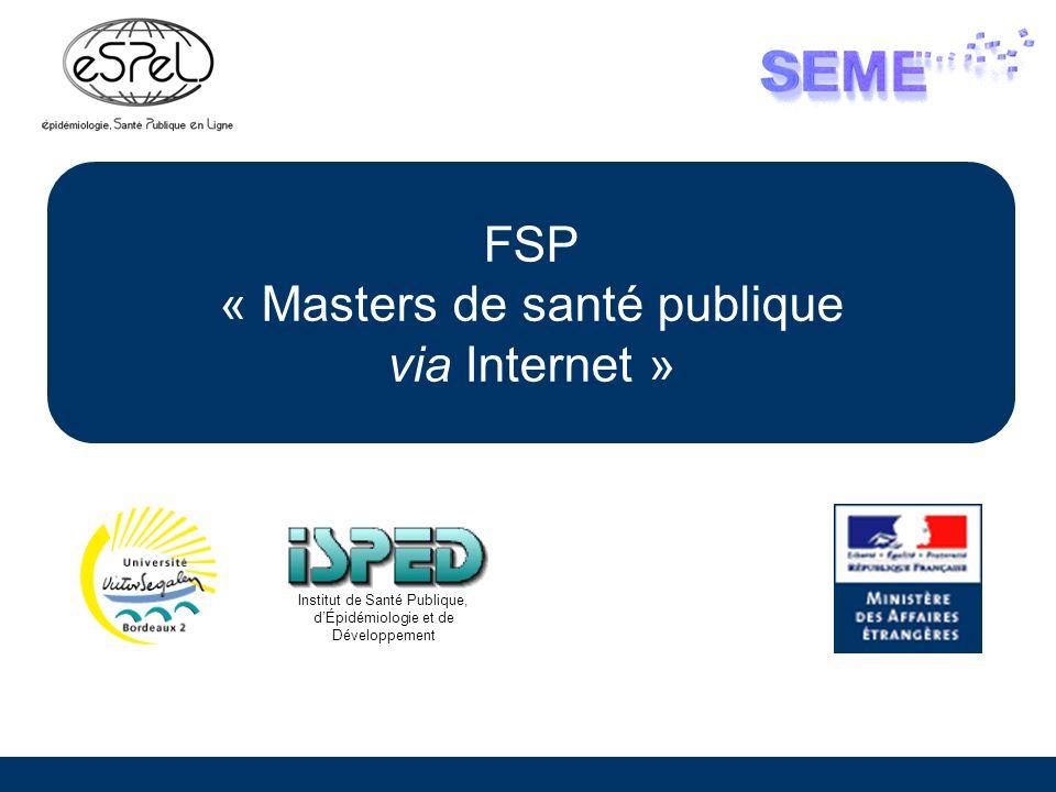 FSP « Masters de santé publique via Internet »