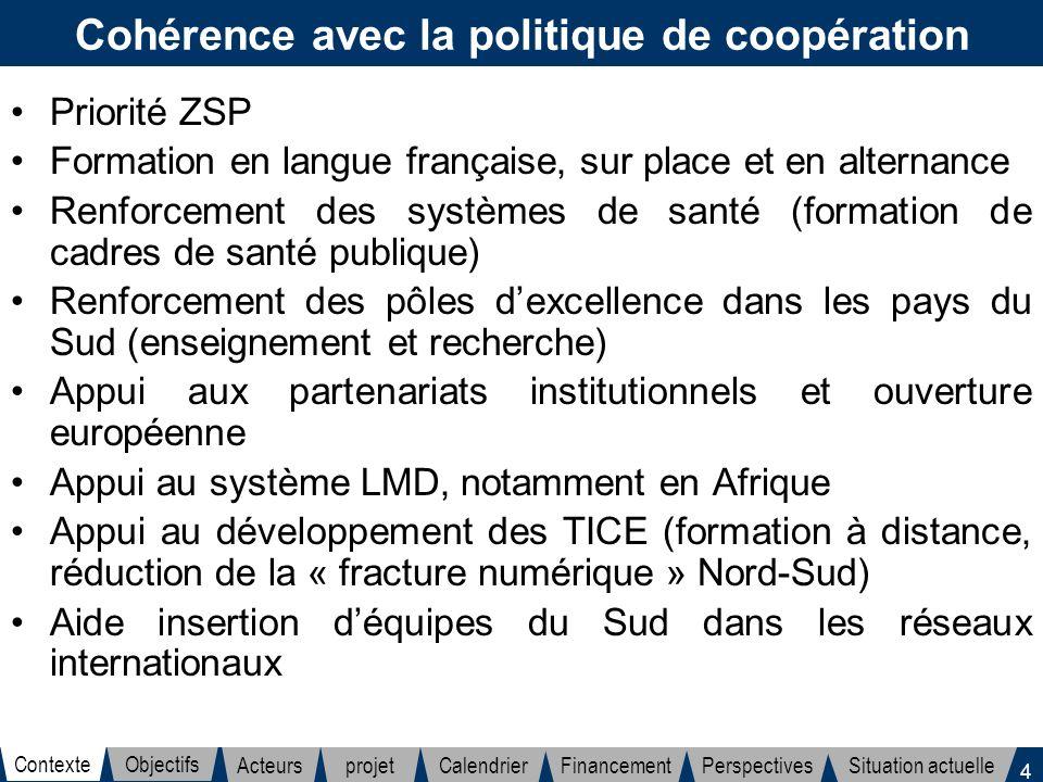 Cohérence avec la politique de coopération