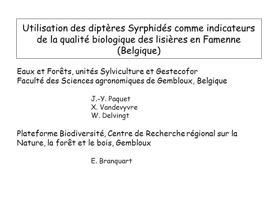 Utilisation des diptères Syrphidés comme indicateurs de la qualité biologique des lisières en Famenne (Belgique)