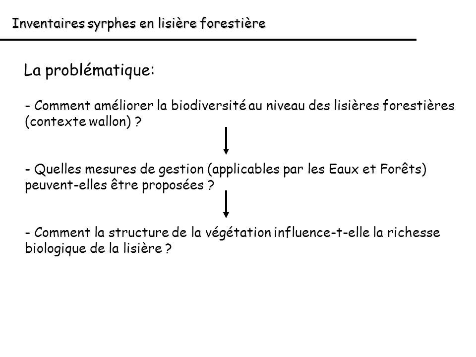 La problématique: Inventaires syrphes en lisière forestière