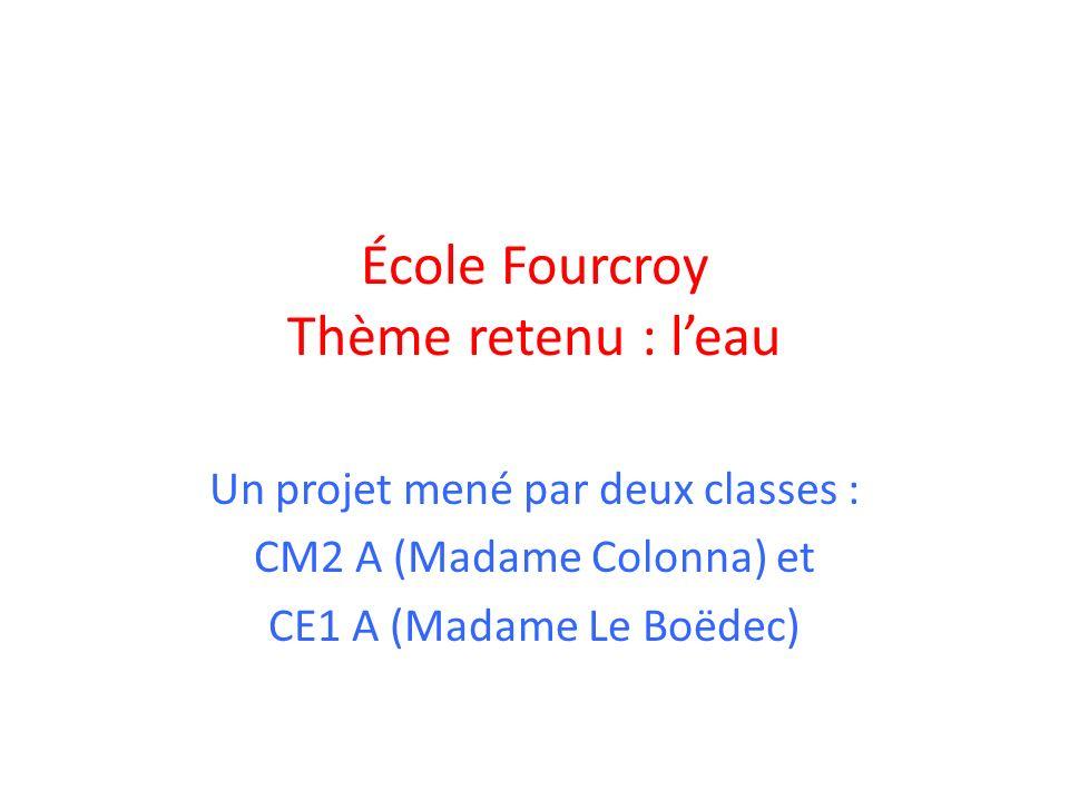 École Fourcroy Thème retenu : l'eau