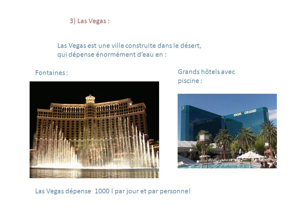 3) Las Vegas : Las Vegas est une ville construite dans le désert, qui dépense énormément d'eau en :
