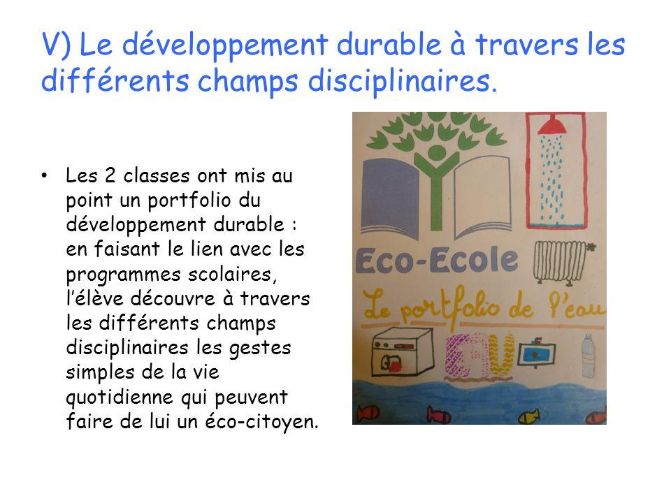 V) Le développement durable à travers les différents champs disciplinaires.