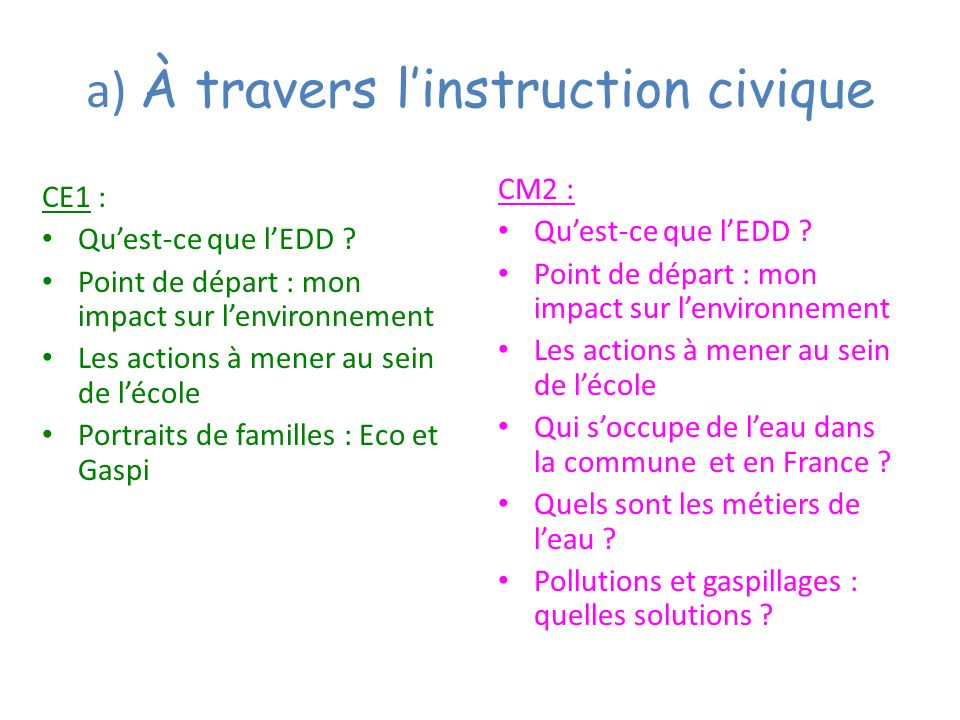 a) À travers l'instruction civique