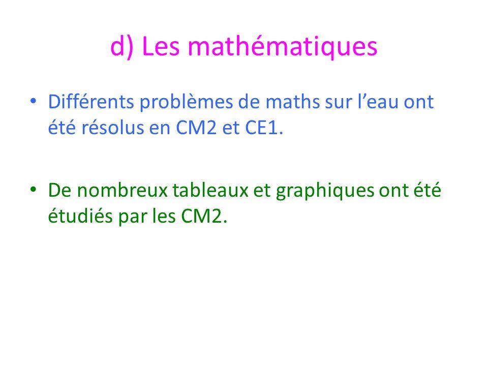 d) Les mathématiques Différents problèmes de maths sur l'eau ont été résolus en CM2 et CE1.