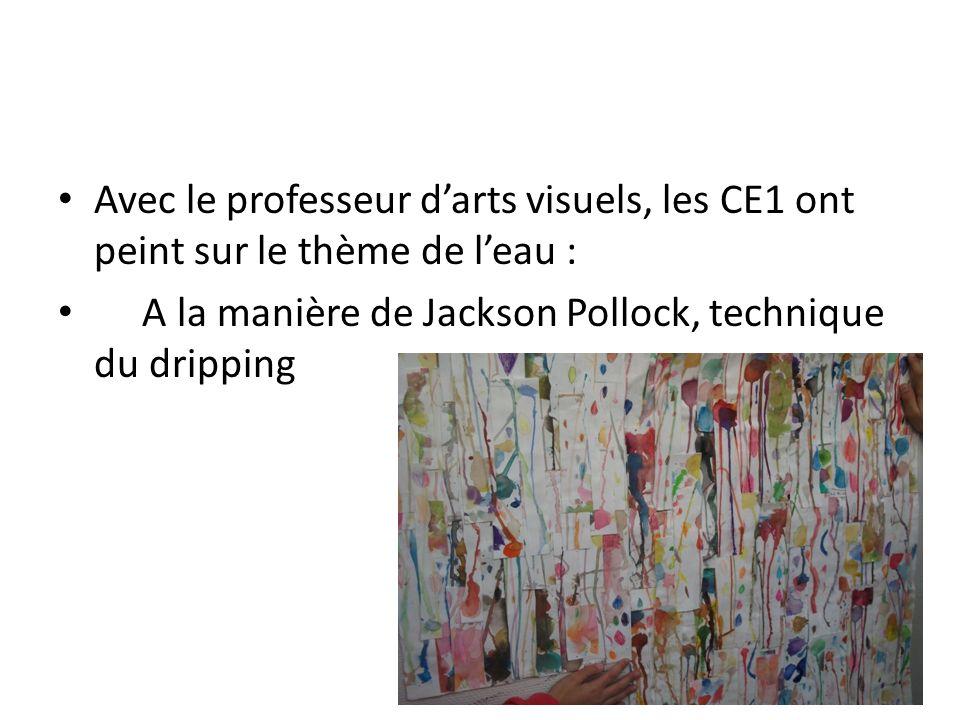 Avec le professeur d'arts visuels, les CE1 ont peint sur le thème de l'eau :