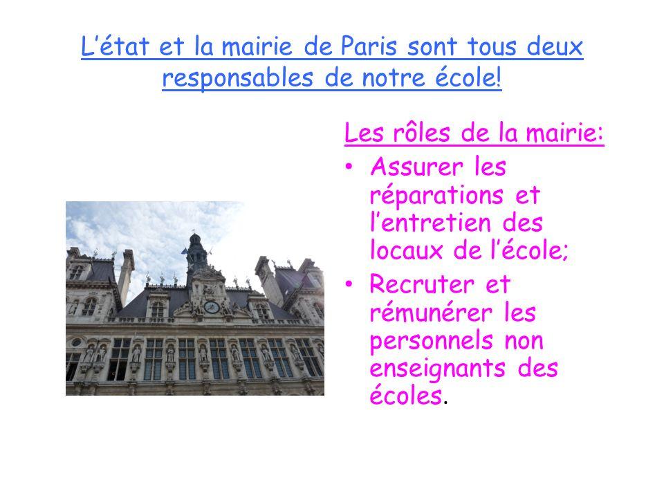 L'état et la mairie de Paris sont tous deux responsables de notre école!