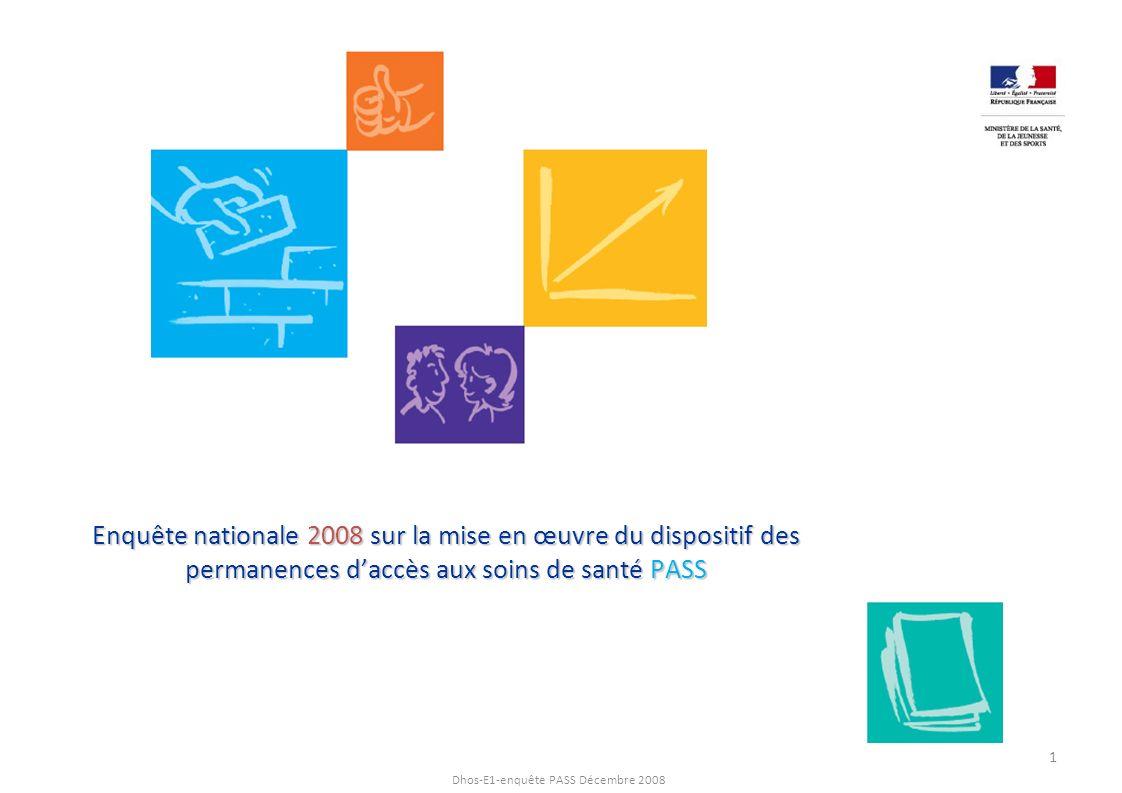 Enquête nationale 2008 sur la mise en œuvre du dispositif des permanences d'accès aux soins de santé PASS