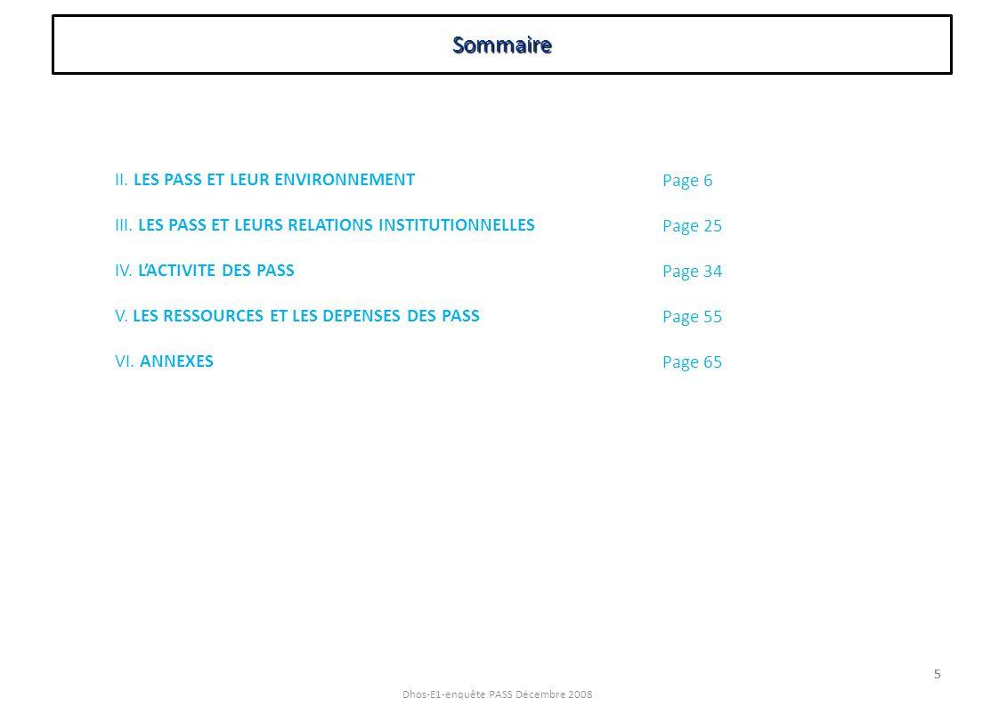 Sommaire II. LES PASS ET LEUR ENVIRONNEMENT
