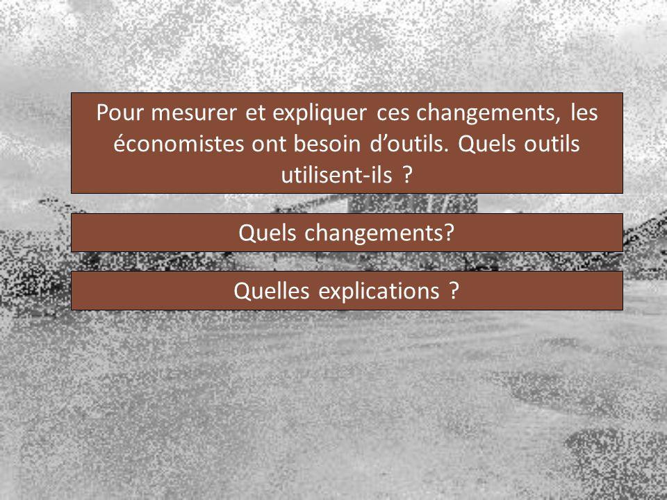 Pour mesurer et expliquer ces changements, les économistes ont besoin d'outils. Quels outils utilisent-ils