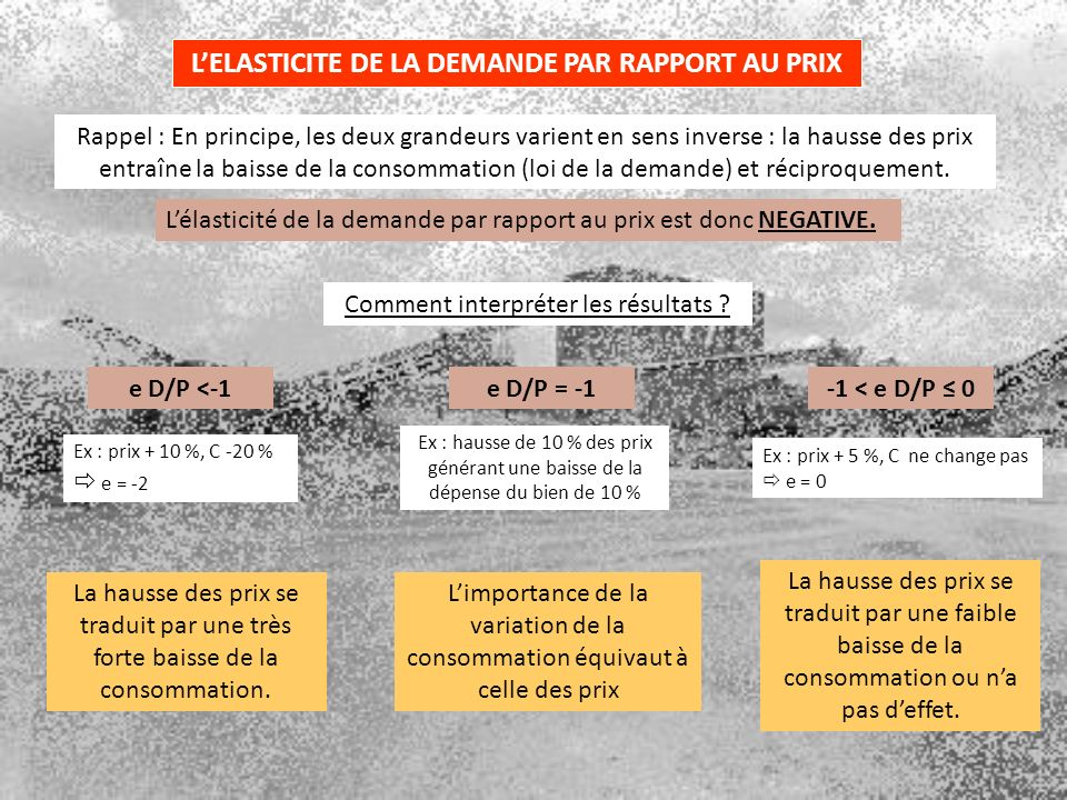 L'ELASTICITE DE LA DEMANDE PAR RAPPORT AU PRIX