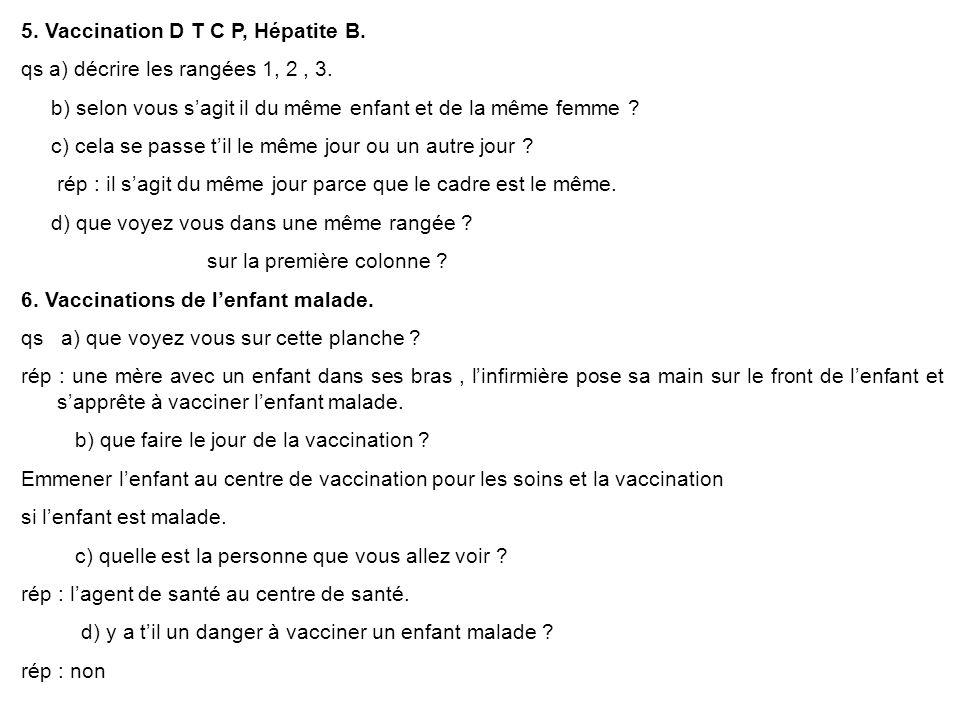 5. Vaccination D T C P, Hépatite B.