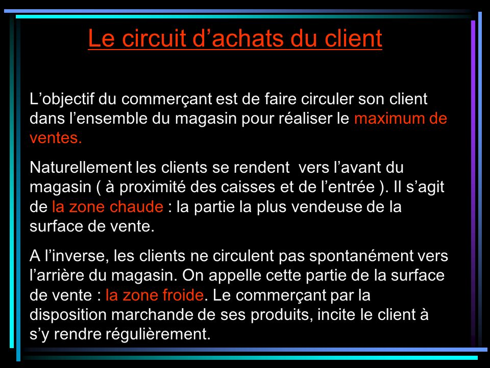 Le circuit d'achats du client
