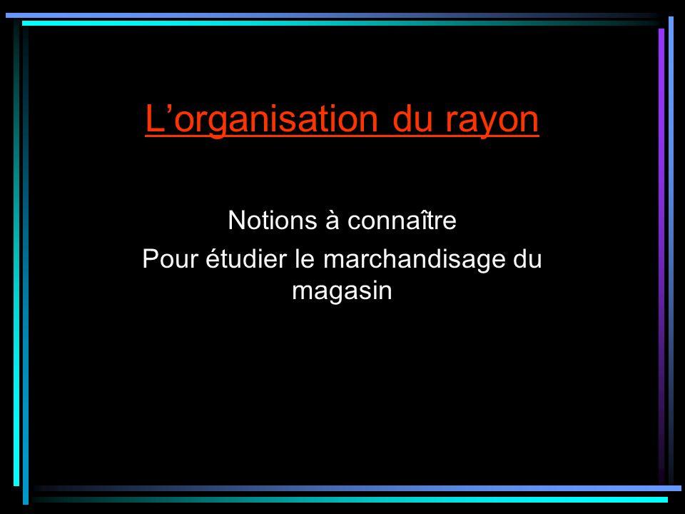 L'organisation du rayon
