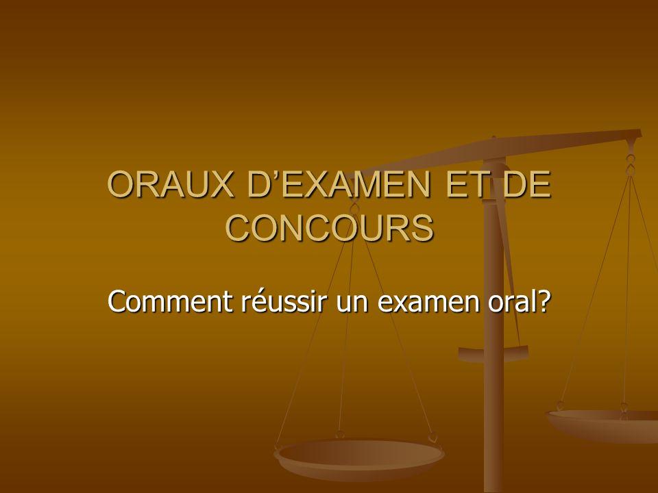ORAUX D'EXAMEN ET DE CONCOURS