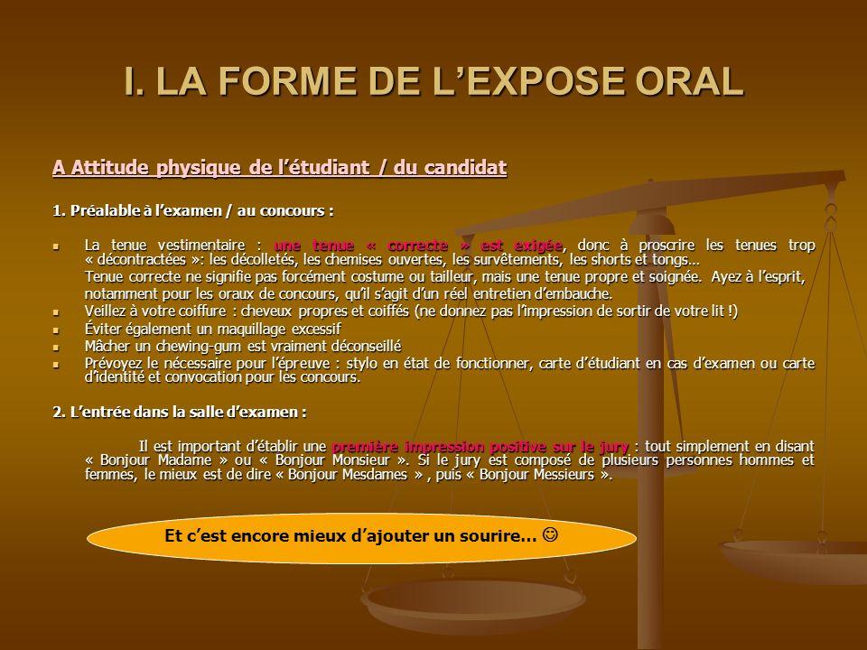 I. LA FORME DE L'EXPOSE ORAL
