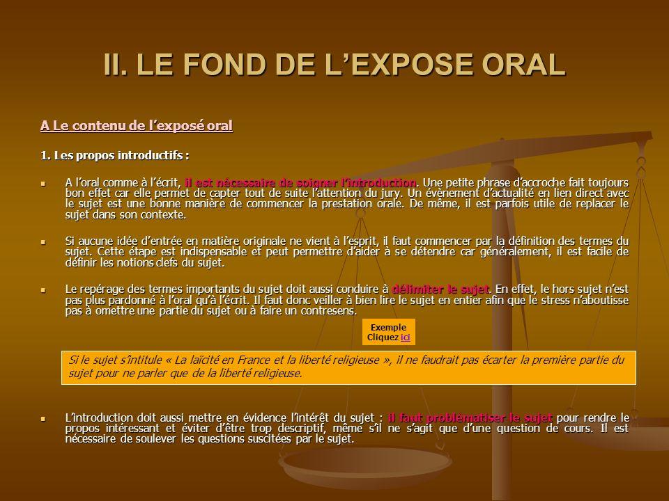 II. LE FOND DE L'EXPOSE ORAL
