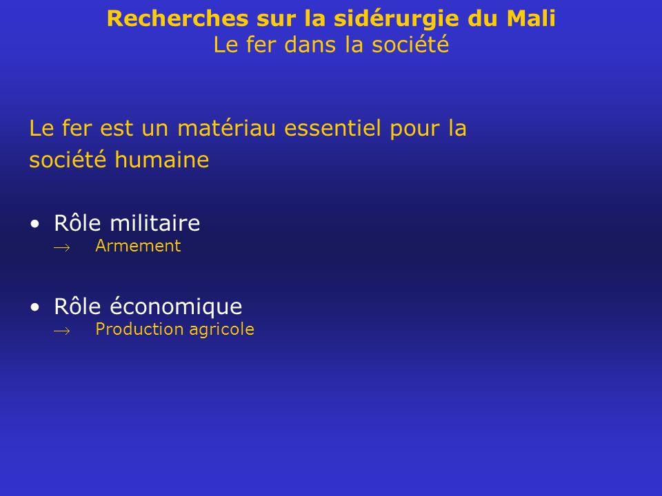 Recherches sur la sidérurgie du Mali Le fer dans la société
