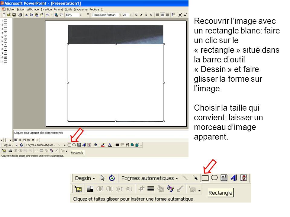 Recouvrir l'image avec un rectangle blanc: faire un clic sur le « rectangle » situé dans la barre d'outil « Dessin » et faire glisser la forme sur l'image.