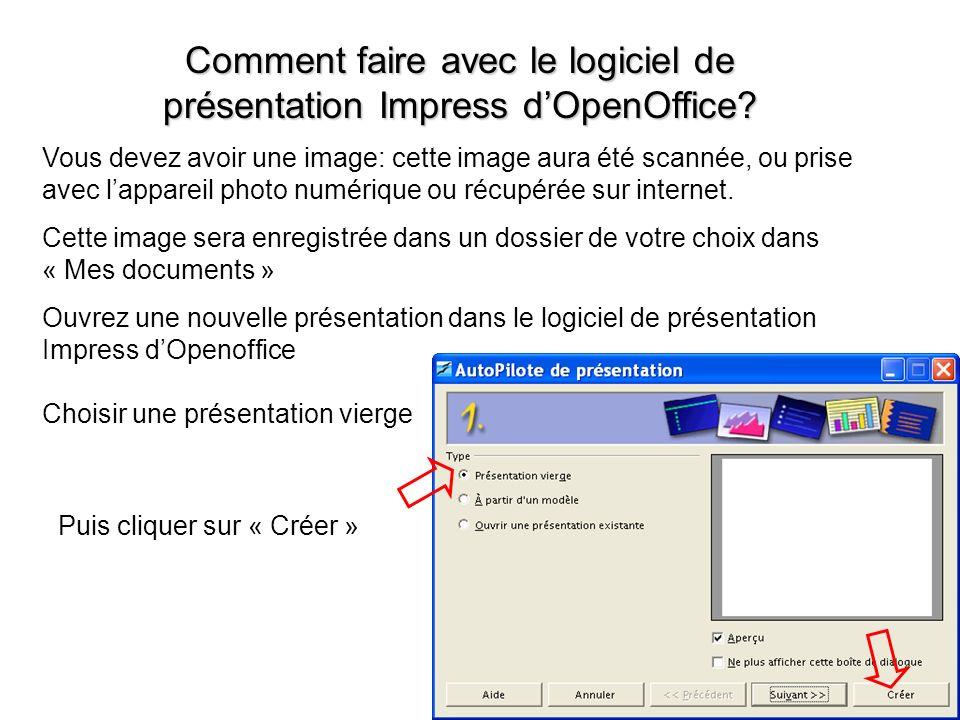 Comment faire avec le logiciel de présentation Impress d'OpenOffice