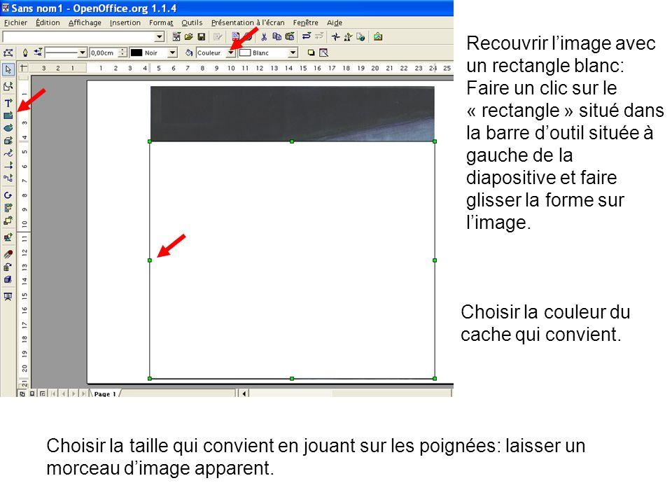 Recouvrir l'image avec un rectangle blanc: Faire un clic sur le « rectangle » situé dans la barre d'outil située à gauche de la diapositive et faire glisser la forme sur l'image.