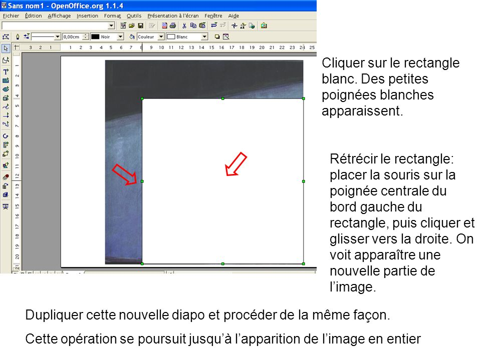 Cliquer sur le rectangle blanc