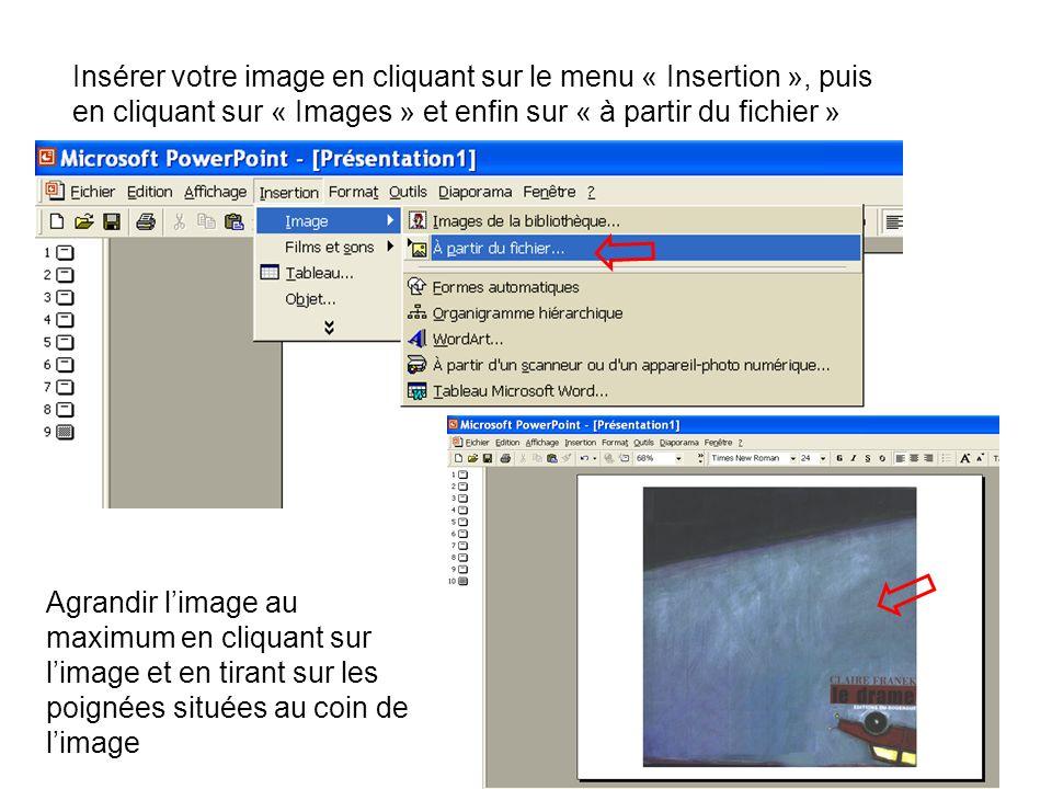 Insérer votre image en cliquant sur le menu « Insertion », puis en cliquant sur « Images » et enfin sur « à partir du fichier »