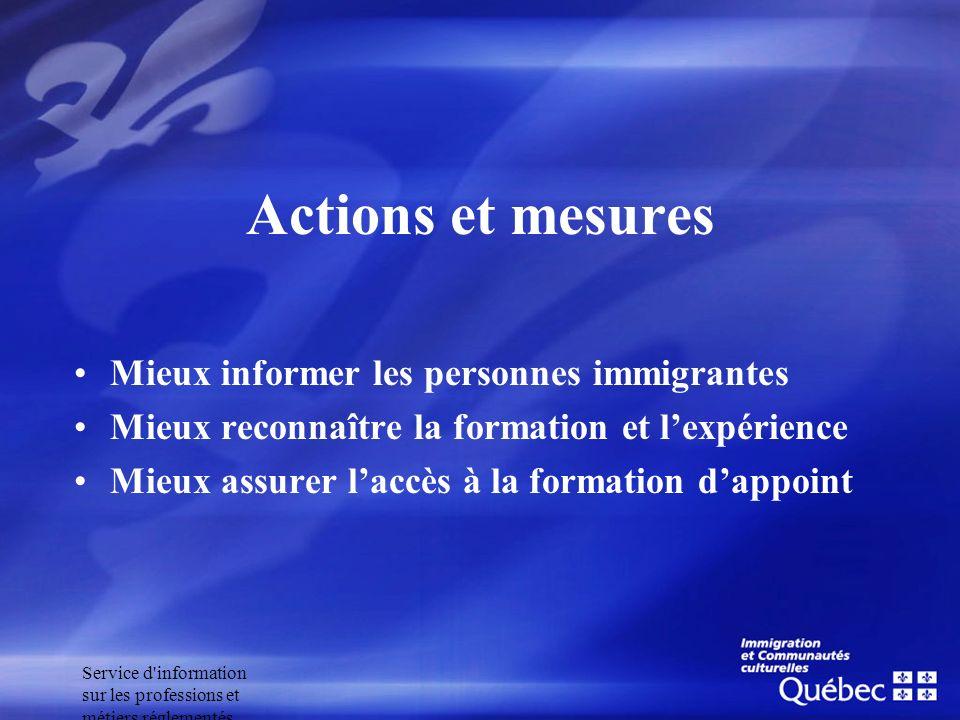 Actions et mesures Mieux informer les personnes immigrantes