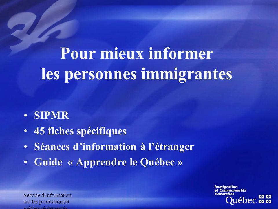 Pour mieux informer les personnes immigrantes