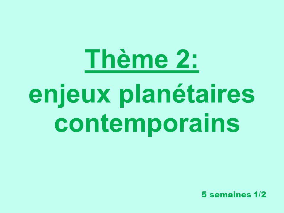 Thème 2: enjeux planétaires contemporains