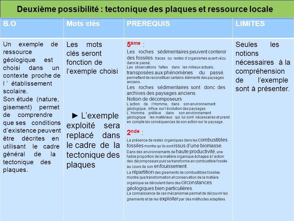 Deuxième possibilité : tectonique des plaques et ressource locale