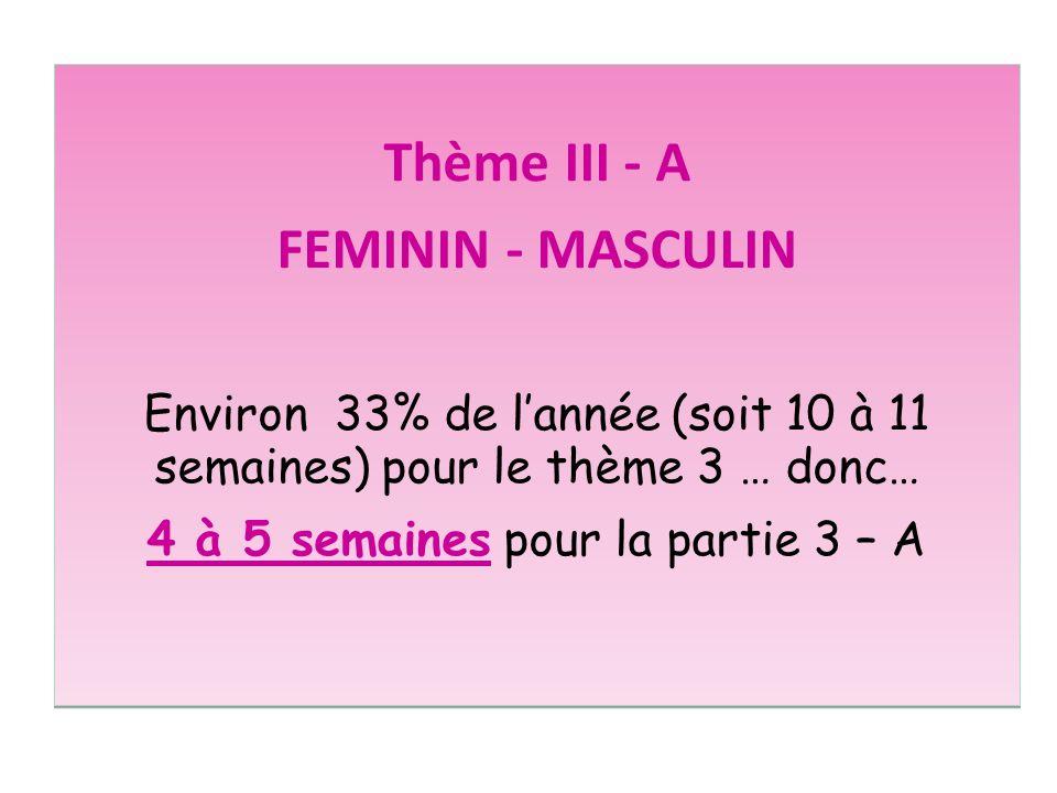 Thème III - A FEMININ - MASCULIN