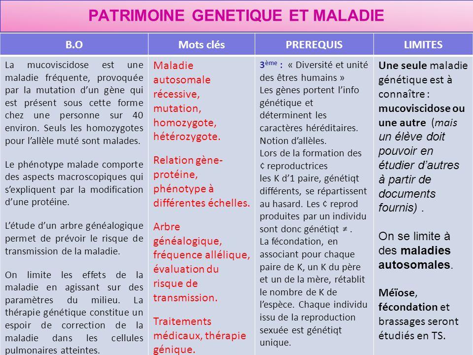 PATRIMOINE GENETIQUE ET MALADIE
