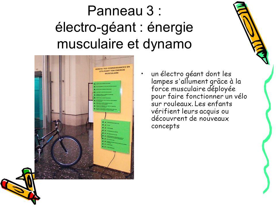 Panneau 3 : électro-géant : énergie musculaire et dynamo