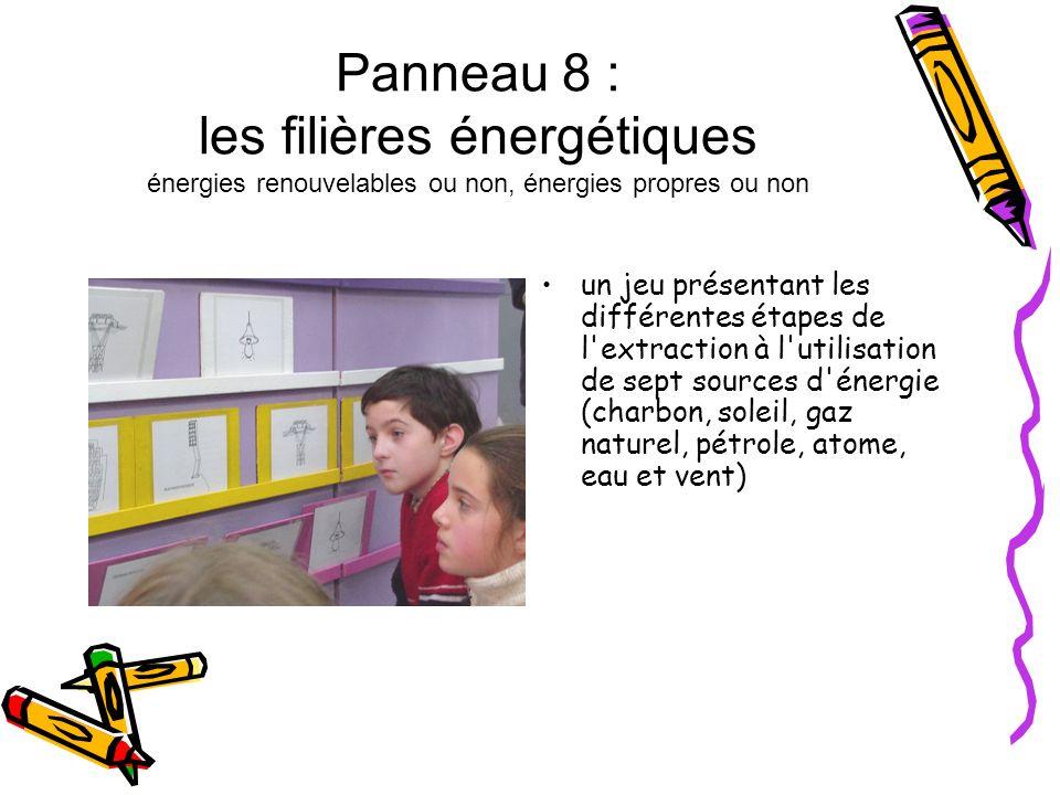 Panneau 8 : les filières énergétiques énergies renouvelables ou non, énergies propres ou non