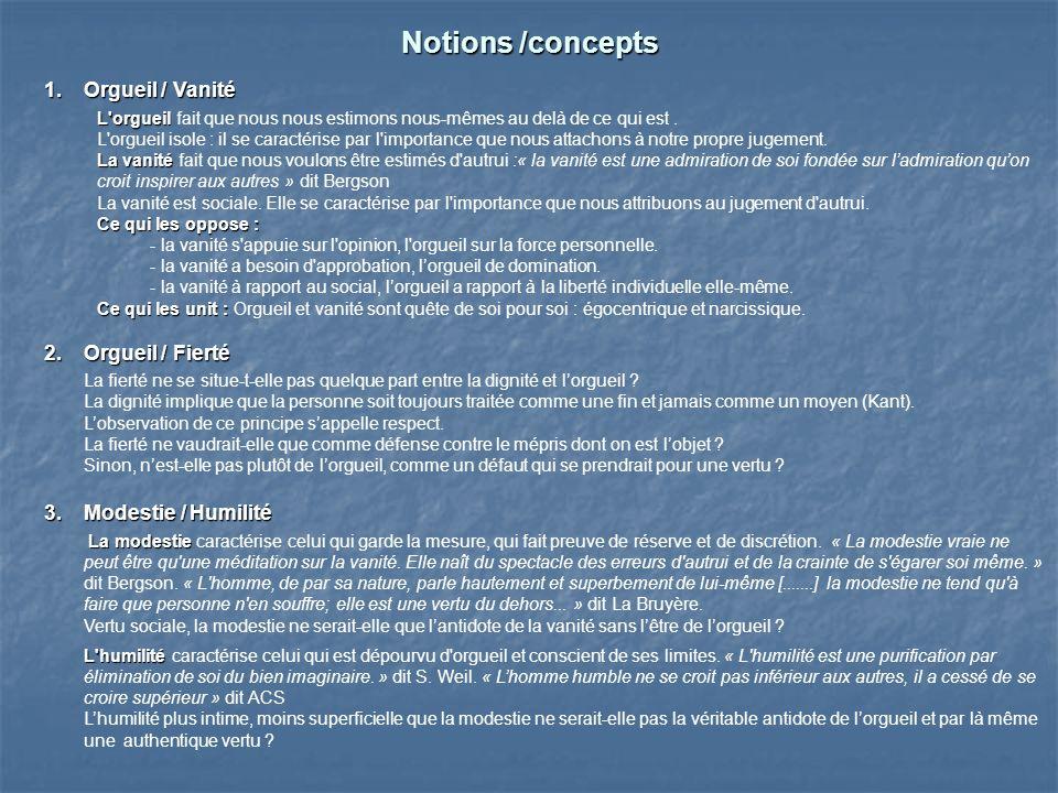 Notions /concepts Orgueil / Vanité Orgueil / Fierté
