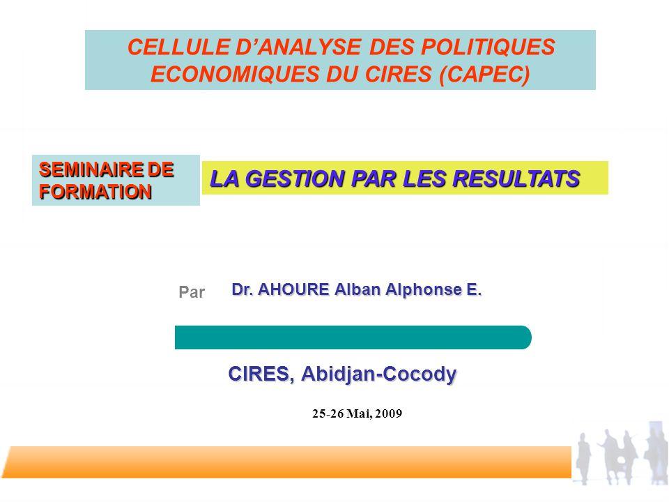 CELLULE D'ANALYSE DES POLITIQUES ECONOMIQUES DU CIRES (CAPEC)