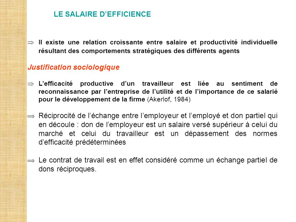 LE SALAIRE D'EFFICIENCE
