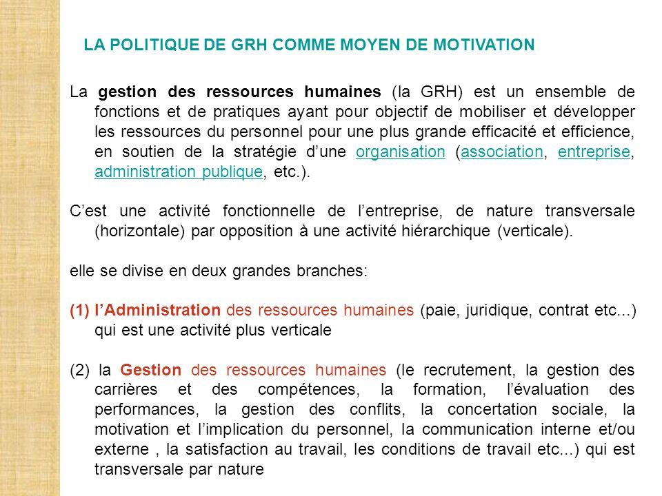 LA POLITIQUE DE GRH COMME MOYEN DE MOTIVATION